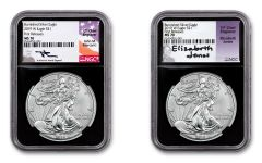 2019-W $1 1-oz Silver Burnished Eagle NGC MS70 First Releases Mercanti-Jones Signed 2-pc Set w/Black Core