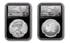 2019 United States & Canada 1-oz Silver Eagle & Maple Leaf Pride of Two Nations PF70-PF70UC 2-Coin Royal Canadian Mint Set First Day of Issue w/Black Core, Emblem Labels and Taylor & Mercanti Signatures