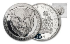 2019 $20 2-oz Silver Sierra Leone Big 5 Leopard High Relief Proof