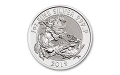 2019 Great Britain £2 1-oz Silver Valiant Saint George Incuse BU