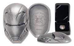 2019 Fiji $5 2-oz Silver Iron Man Mask Ultra High Relief Antiqued