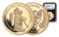 2019 Germany 1-oz Gold Germania Proof NGC PF70UC First Releases w/Black Core