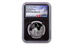 2019 Switzerland 20 Francs 20-gm Silver Apollo 11 50th Anniversary Proof NGC PF70 w/Black Core & Swiss Label
