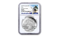 2019 Australia $1 1-oz Silver Emu NGC MS69 First Day of Issue w/Opera House Label