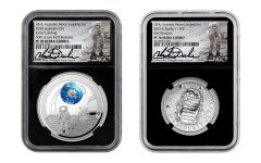 2019 Australia-USA Apollo 11 Moon Landing 2-pc Proof Set NGC PF70 First Releases w/Black Core & Charlie Duke Signature