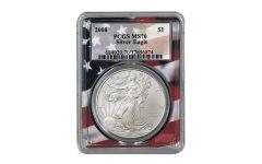 2008 $1 1-oz Silver Eagle PCGS MS70 w/Flag Core