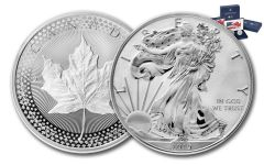 2019 United States & Canada 1-oz Silver Eagle & Maple Leaf Pride of Two Nations 2-Coin U.S. Mint Set