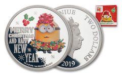 2019 Niue $2 1-oz Silver Minions™ Seasons Greetings Proof