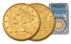 1906-D & 1907-P $5 Gold Liberty 2-Coin Set PCGS MS64+ Rive d'Or