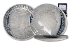 2019 Australia $5 1-oz Silver 1626 Map of the World Domed Proof