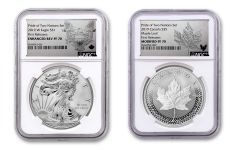 2019 United States & Canada 1-oz Silver Eagle & Maple Leaf Pride of Two Nations NGC PF70 2-Coin Set First Releases w/Emblem Labels