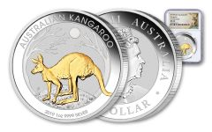 2019 Australia $1 1-oz Silver Kangaroo Gilded Coin NGC MS70 First Releases w/Kangaroo Label