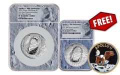 2019-P 5-oz Silver Apollo 11 50th Anniversary Proof NGC PF70 First Day of Issue w/Moon Display Core & Bonus 2019-P Apollo 11 Silver Dollar