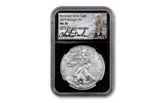 2019-W $1 1-oz Burnished Silver Eagle NGC MS70 w/Black Core & Charlie Duke Signature
