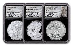 2019 $1 1-oz Silver Eagle NGC MS70-PF70 3-pc Set w/Black Core & Charlie Duke Signature