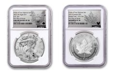 2019 United States & Canada 1-oz Silver Eagle & Maple Leaf Pride of Two Nations NGC PF70 2-Coin Set First Day of Issue w/ Emblem Labels