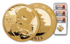 3PC CHINA 2019 GOLD PANDA NGC PF70 SHANGHAI TONG