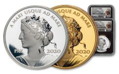 2020 Canada 1-oz Gold & Silver Peace Dollar 2-pc Set NGC PF70UC First Day of Issue w/Black Core & Taylor Signature