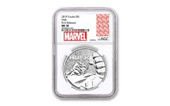 2019 Tuvalu $1 1-oz Silver Incredible Hulk NGC MS70 First Releases w/Marvel Label