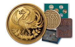 2019 Japan 20-gm Gold 30th Anniversary of Emperor Akihito Enthronement Proof w/2019 Proof & Mint Sets