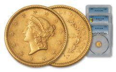1849–1889 U.S. Gold Dollar 3-pc Type Set NGC/PCGS AU58