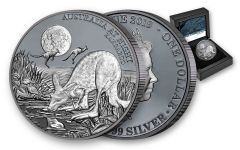 2019 Niue $1 1-oz Silver Kangaroo Australia at Night Black Proof