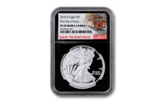 2019-S $1 Silver Eagle NGC PF69UC First Day of Issue Releases w/Black Core & Trolley Label