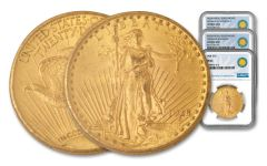 1907–1928 $20 Gold Saint-Gaudens NGC MS64 w/Roosevelt Medals Smithsonian Classics