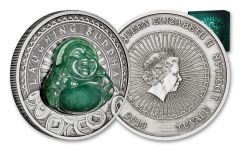 2019 Tuvalu $1 1-oz Silver Laughing Jade Buddha Antiqued BU