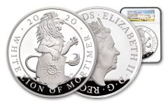 2020 Great Britain £500 1-Kilo Silver Queen's Beasts White Lion of Mortimer Proof NGC PF70UC First Strike