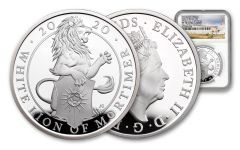 2020 Great Britain £2 1-oz Silver Queen's Beasts White Lion of Mortimer Proof NGC PF70UC First Strike