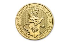 2020 Great Britain £100 1-oz Gold Queen's Beasts White Lion of Mortimer BU