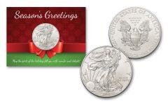 2019 1 Dollar 1-oz American Silver Eagle BU Seasons Greetings Card