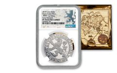 2019 Netherlands 1-oz Silver Lion Dollar NGC PF70 Early Releases w/Lion Dollar Label & Gold Foil Map