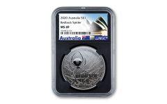2020 Australia $1 1-oz Silver Redback Spider NGC MS69 w/Black Core & Opera House Label