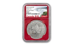 2020 Canada $5 1-oz Silver Maple Leaf NGC MS69 First Day of Issue w/Red Core & Canada Label