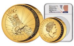 2019 Australia $500 5-oz Gold Wedge Tailed Eagle High Relief NGC PF70UC First Releases - Mercanti Signed Label