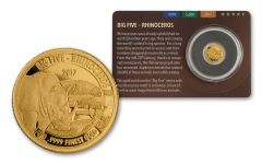 2016 Tanzania Half Gram Gold Big Five - Rhino Proof