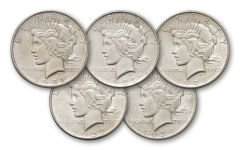 Peace Dollar Denver Mint Collection AU 5 Pieces
