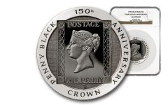 1990 Isle of Man 5-oz Silver Penny Black NGC Gem Proof