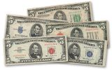 1928-1963 5 Dollar Bill Collection 5 Pieces