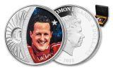 2018 $5 1-oz Silver Sid Maurer - Legends of Sports Michael Schumacher Colorized Proof