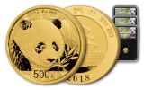 2018 China Gold Panda Mini Prestige NGC MS70 First Day Of Issue Chao Signed - Black