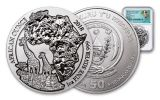 2018 Rwanda 1-oz Silver African Giraffes NGC MS69 Early Releases