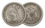 1854-1855 Silver Quarter Seated Liberty with Arrows VF