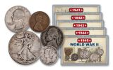 1941–1945 1 Cent – 50 Cents World War II 25-Piece Collection VG