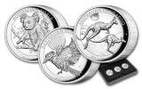 2018 Australia $1 1-oz Silver Koala, Kangaroo & Kookaburra High Relief Roof 3-Piece Set