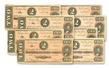 1864 $2 Confederate Notes 8-pc SN 113301–113308 AU