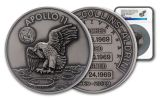 Apollo 11 Robbins Medal 5-oz Silver with Space Flown Alloy NGC MS70 First Day of Production - 50th Anniversary Commemorative