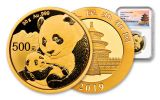2019 China 30-Gram Gold Panda NGC MS70 First Releases - Temple Label